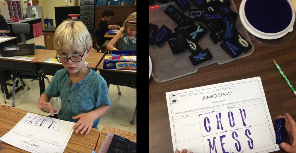 Student using Jumbo Letter Stamper