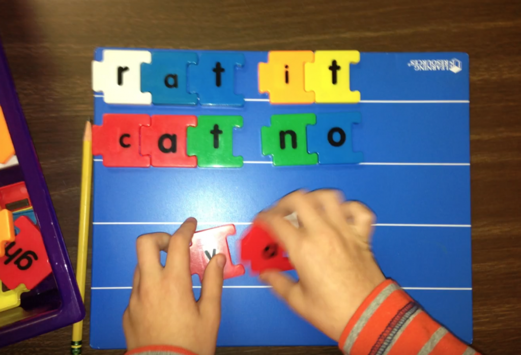 Magnetic puzzle letters for spelling words